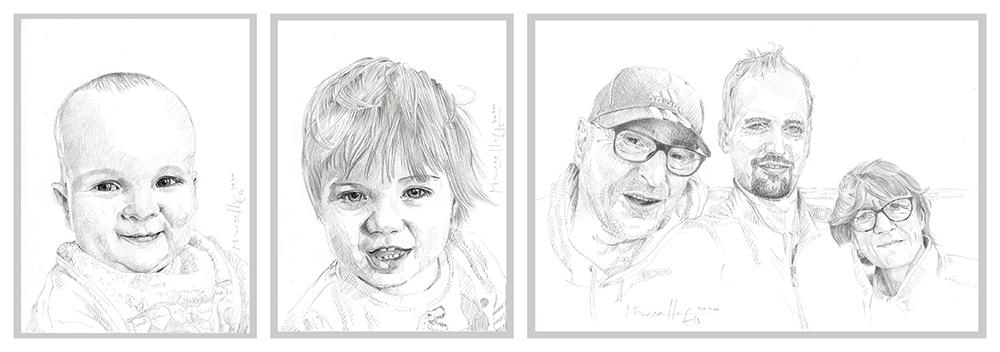 portrettekening in potlood van een foto