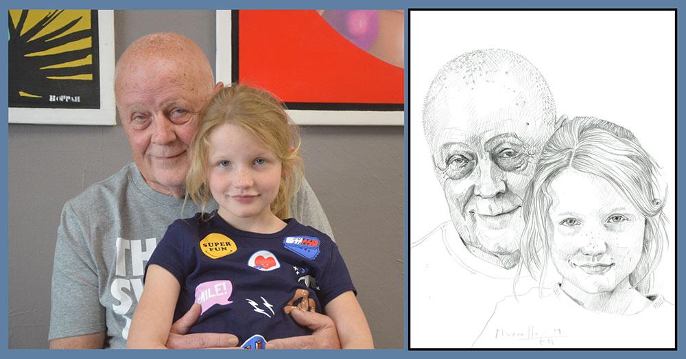 Tekening van een foto; Leo van der Velde met kleindochter.